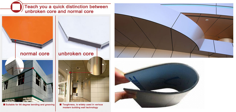 Aluminium composite panel unbroken core